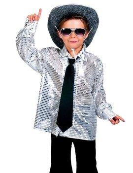 Glitter Disco Hemd Zilver | Kinderkostuum