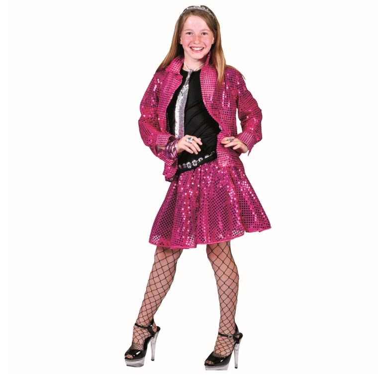 Disco Glitterhemd Roze| Kinderkostuum