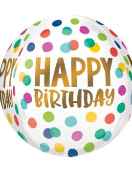 Orbz Ballon Happy Birthday | Confetti dots 38cm