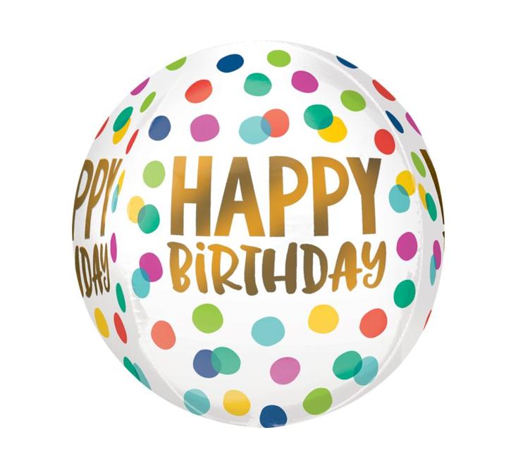 Orbz Ballon Happy Birthday   Confetti dots 38cm