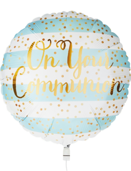 Folieballon Communie Blue / Gold | 46cm