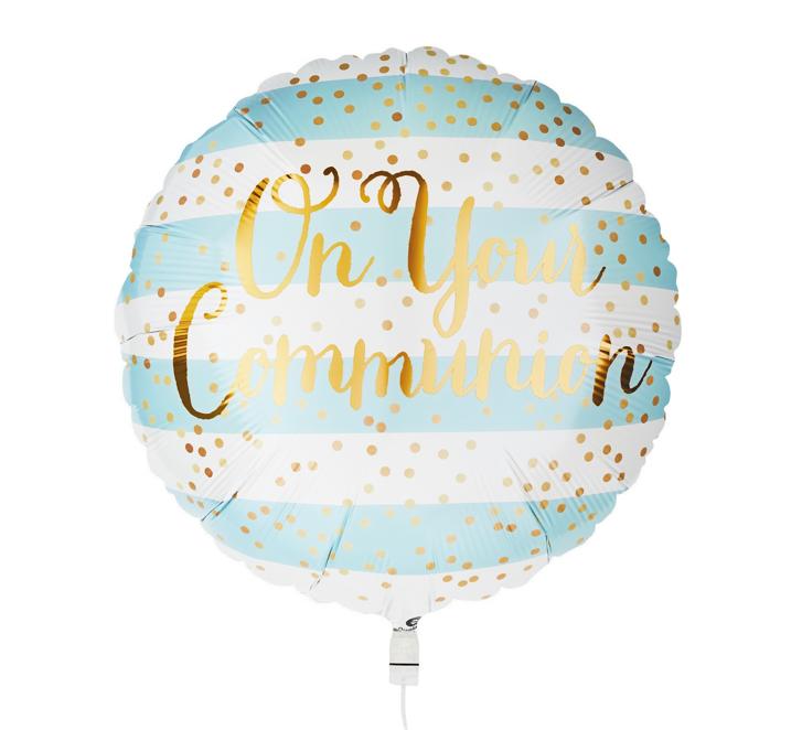 Folieballon Communie Blue / Gold | 46cm