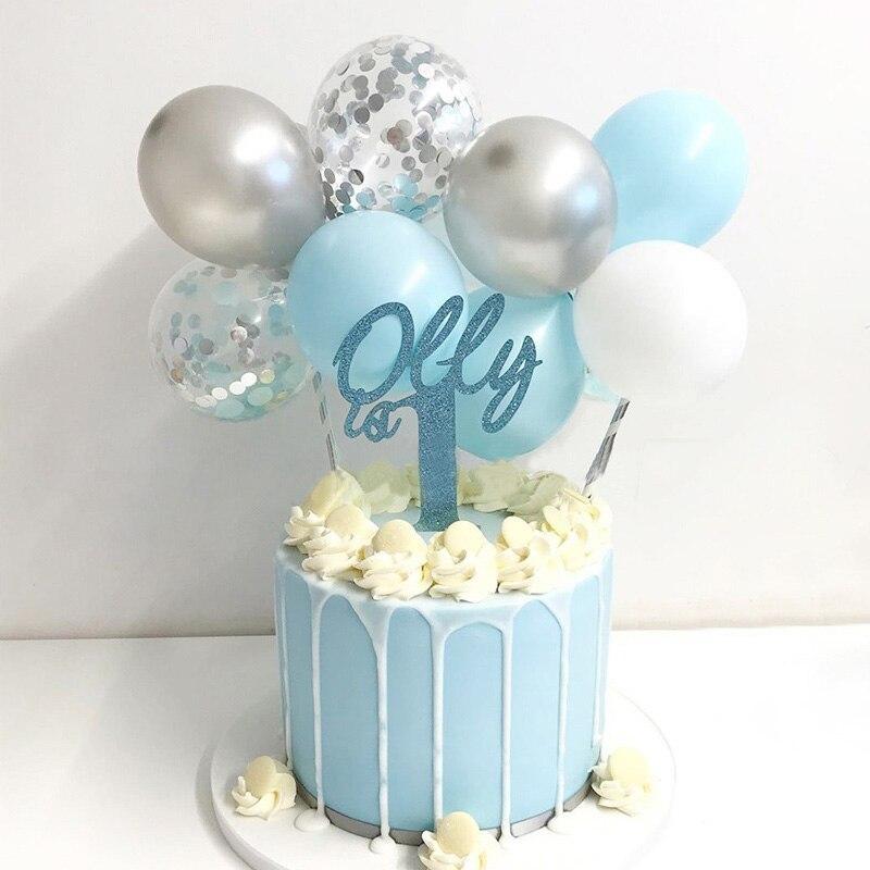 Ballonnen Taarttopper Set | Blauw/Zilver