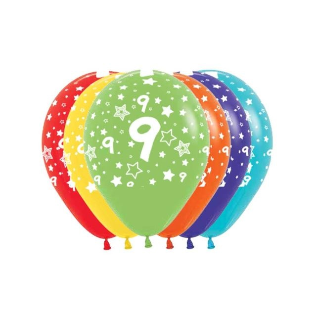 Ballonnen Multicolor 12 Stuks   Cijfer 9