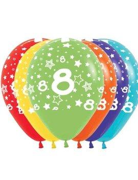 Ballonnen Multicolor 12 Stuks | Cijfer 8
