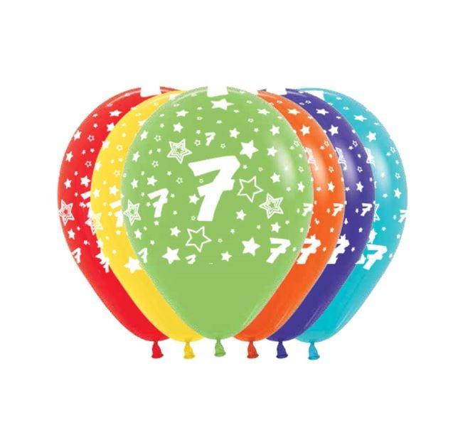 Ballonnen Multicolor 12 Stuks   Cijfer 7