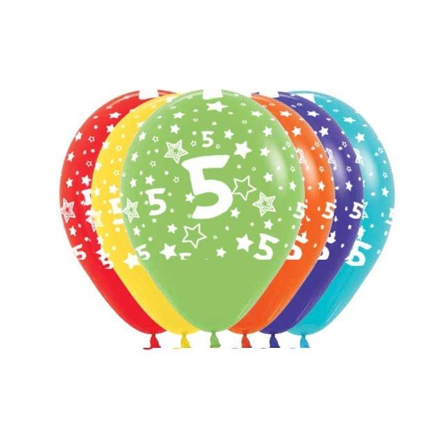 Ballonnen Multicolor 12 Stuks   Cijfer 5