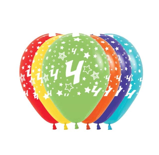 Ballonnen Multicolor 12 Stuks | Cijfer 4