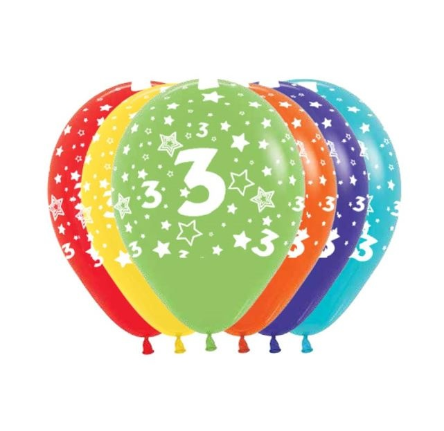 Ballonnen Multicolor 12 Stuks | Cijfer 3
