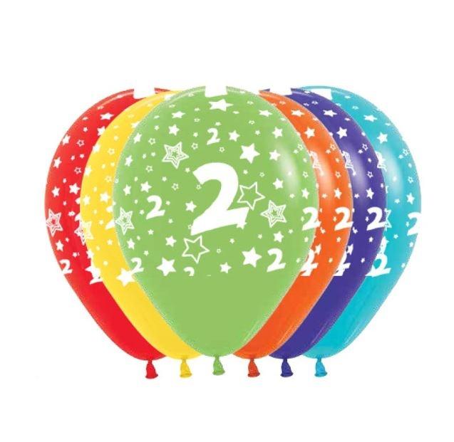 Ballonnen Multicolor 12 Stuks | Cijfer 2