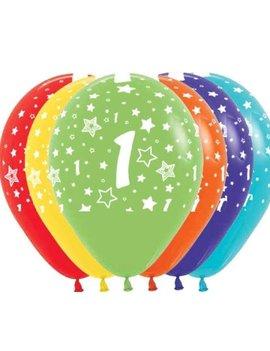 Ballonnen Multicolor 12 Stuks | Cijfer 1