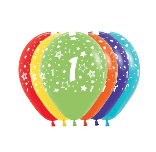Ballonnen Multicolor 12 Stuks   Cijfer 1