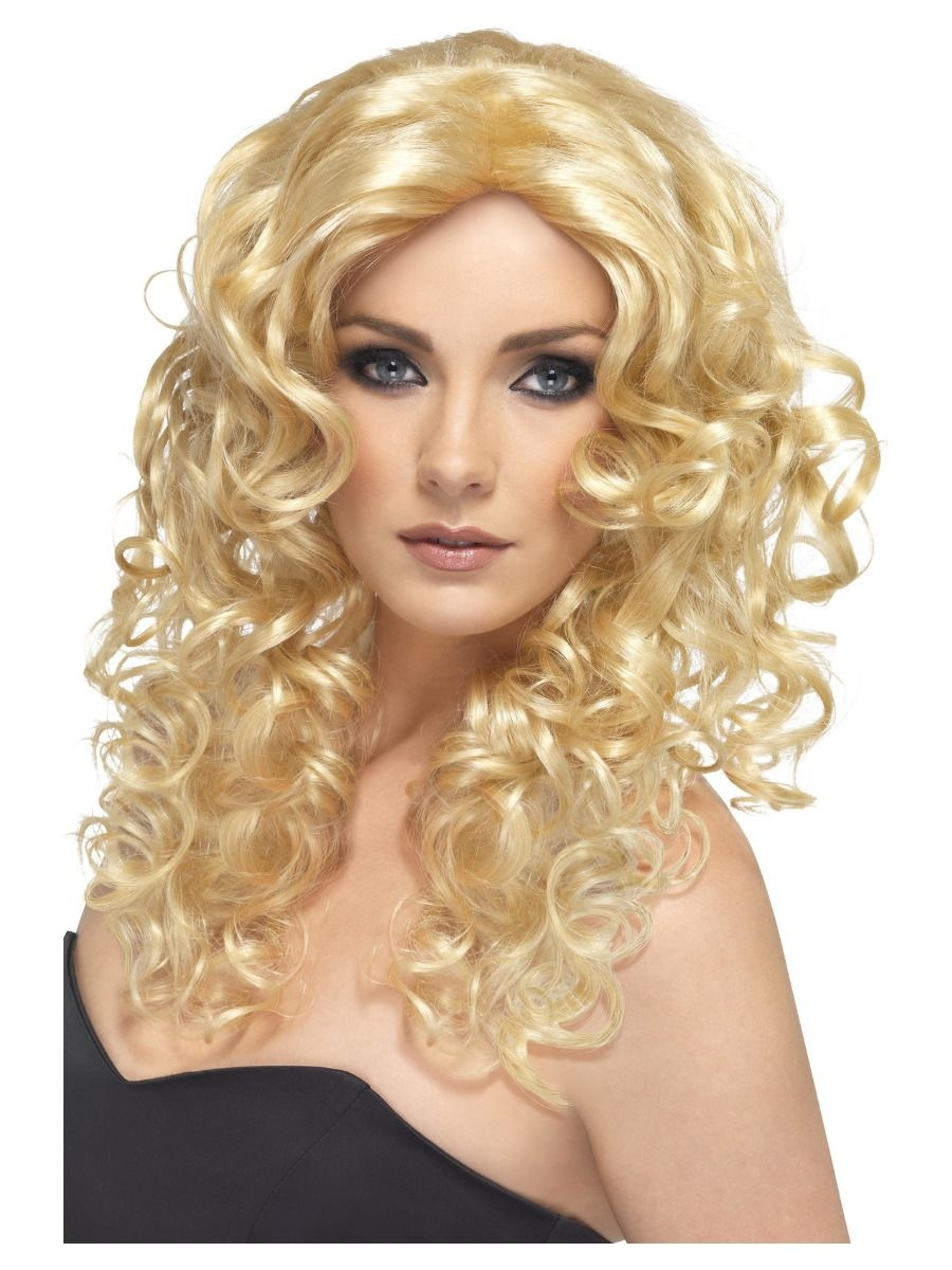 Glamour Girl Pruik   Lang Krullend   Blond
