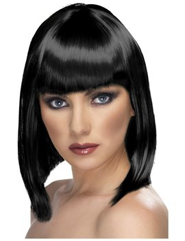 Glamour Girl Pruik | Kort Zwart