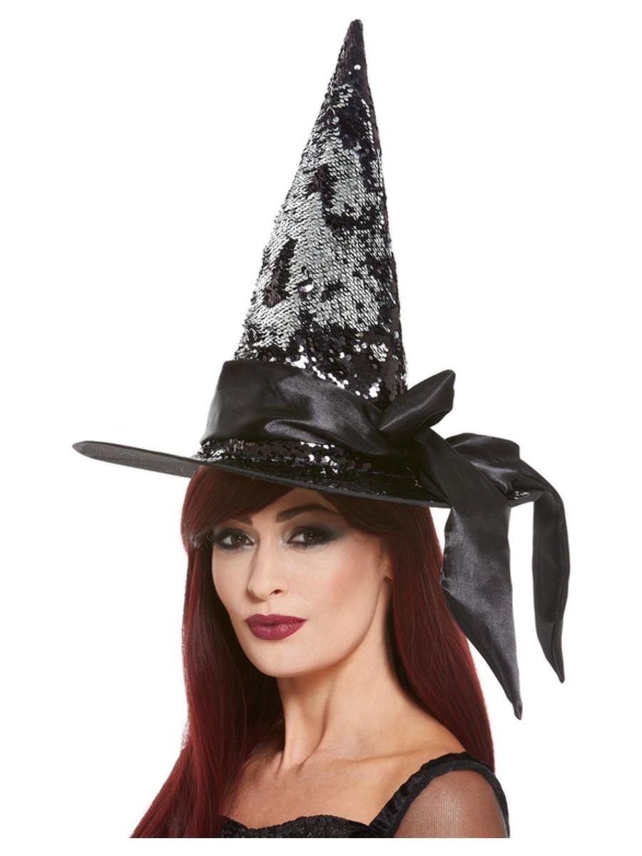Heksenhoed Zwart met Pailletten