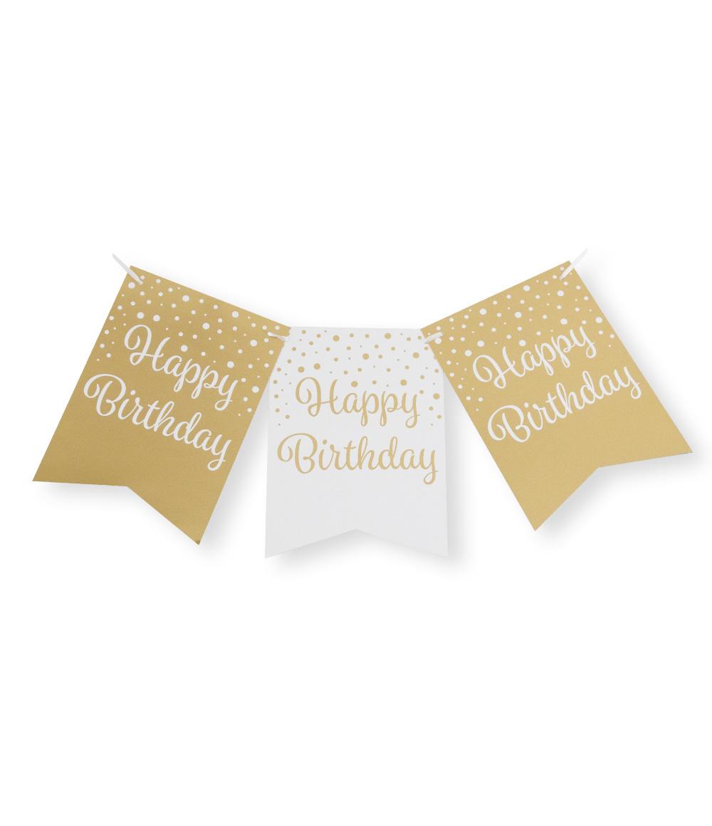 Party Vlaggenlijn | Happy Birthday Gold/White