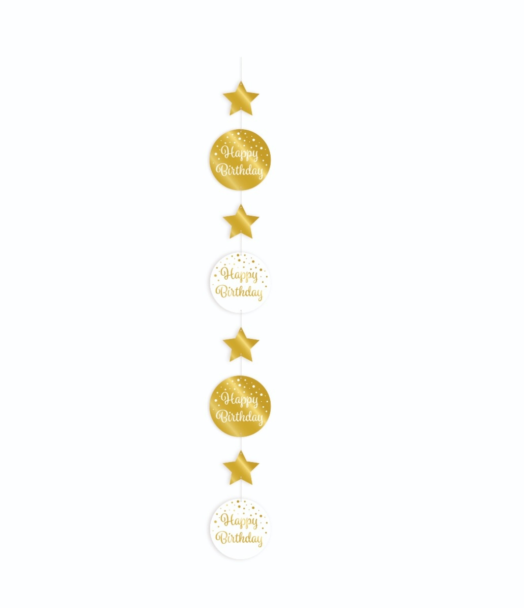 Party Hanging Decoration | Happy Birthday  Gold/White