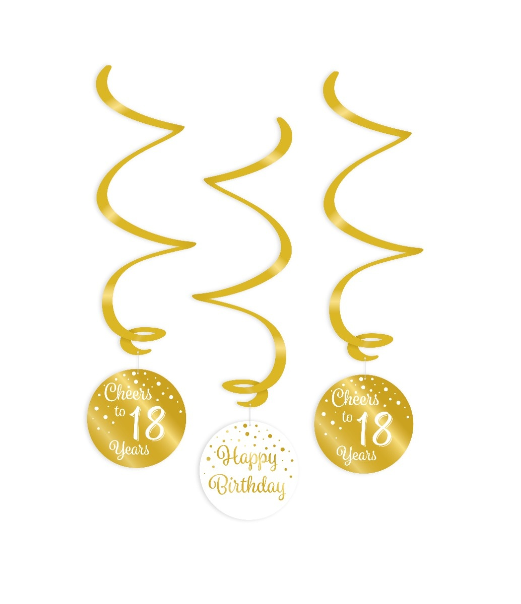 Party Swirl Decoration | 18 Gold/White