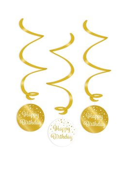 Party Swirl Decoration | Happy Birthday Gold/White