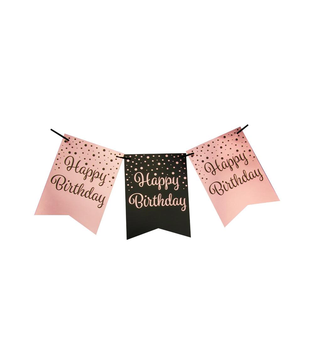 Party Vlaggenlijn | Happy Birthday Black/Rosé