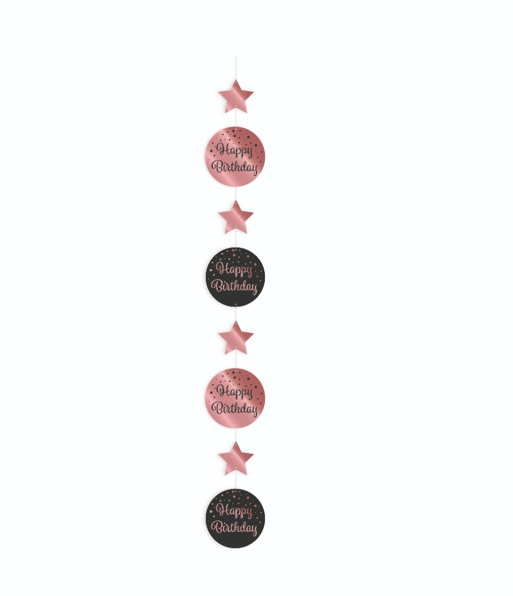 Party Hanging Decoration | Happy Birthday  Black/Rosé