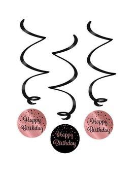 Party Swirl Decoration | Happy Birthday Black/Rosé