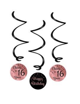 Party Swirl Decoration | 16 Black/Rosé