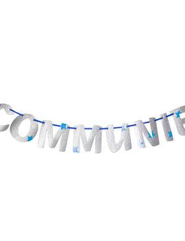 Letterslinger Communie | Blauw/Zilver