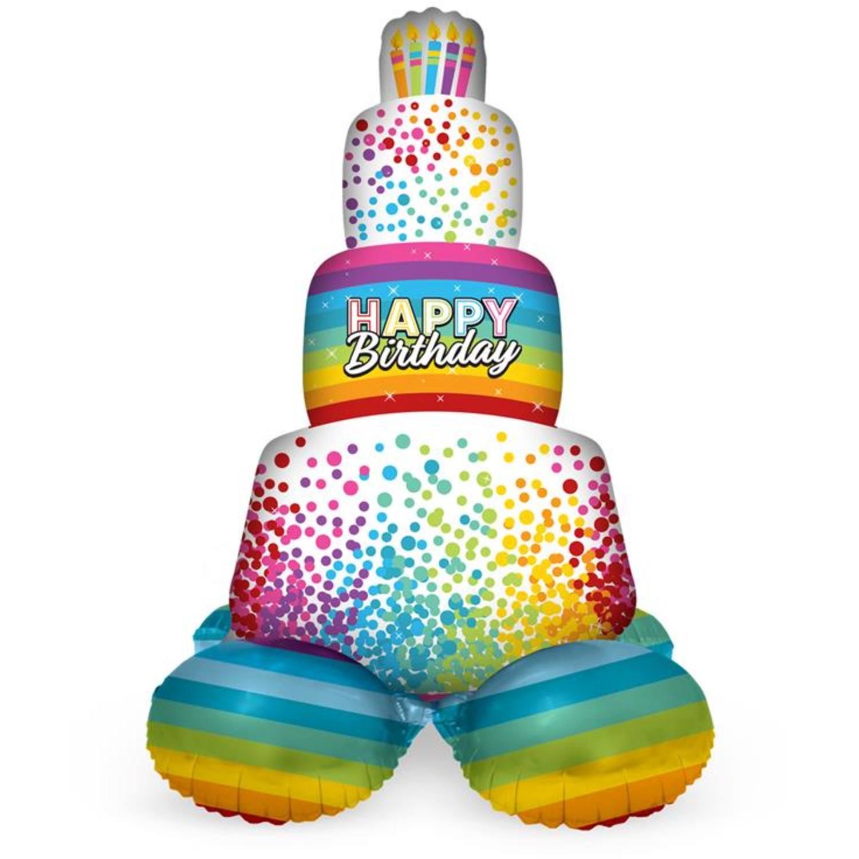 Folieballon Happy Birthday | Met Standaard  | Regenboog