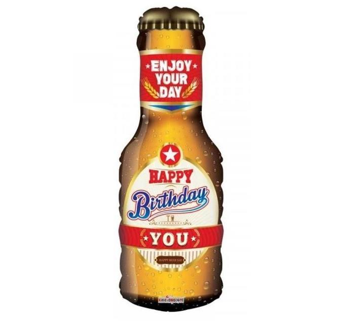 Happy Birthday Beer Bottle Folieballon   91cm