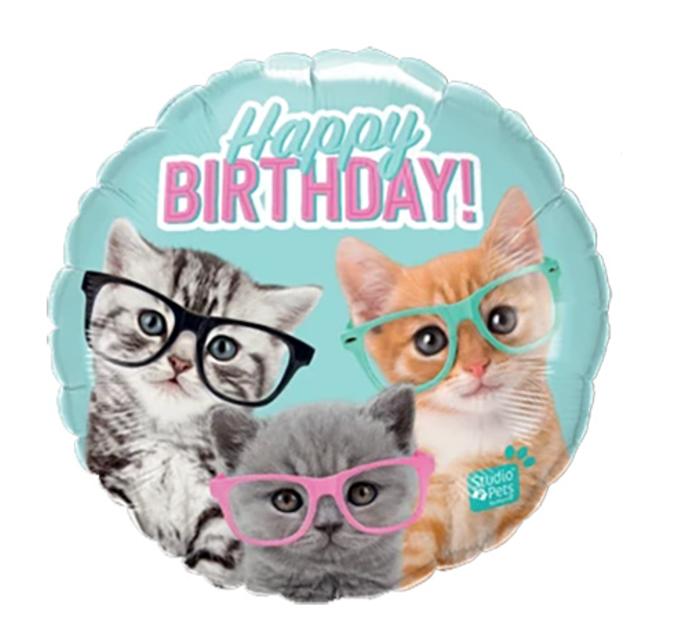 Happy Birthday Cats/Katten Folieballon | 45cm