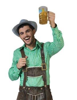 Tiroler Anton Hemd Geruit/ Groen | Herenkostuum  | Oktoberfest