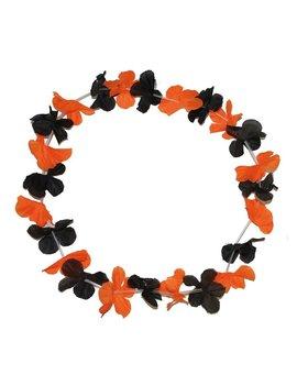 Bloemenkrans Halloween | Hawaïkrans Oranje/ Zwart