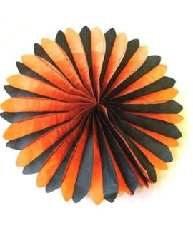 Decoratiewaaier Halloween   Oranje/Zwart 48cm