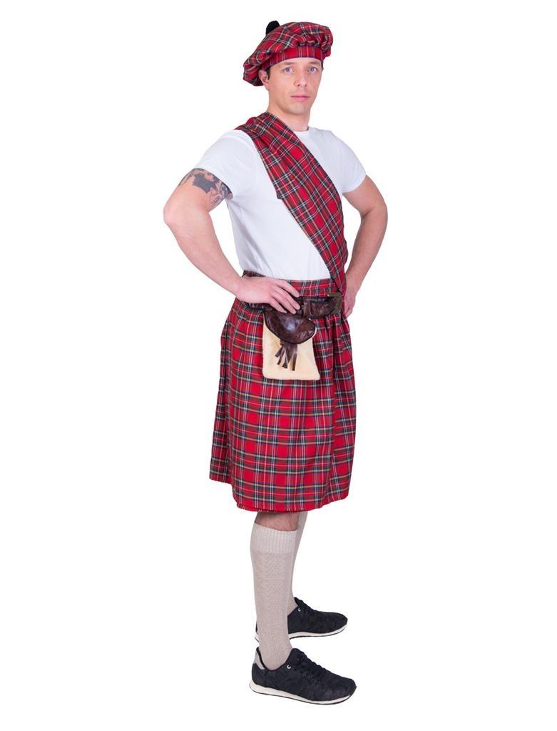Highlander Schot/ Rood   Herenkostuum