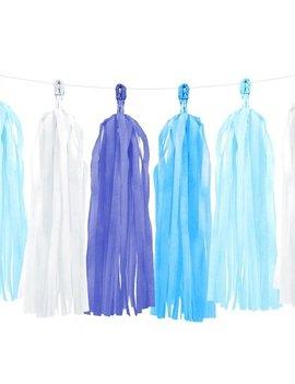 Tassel Guirlande Pom Poms | Blauw/Wit  2m