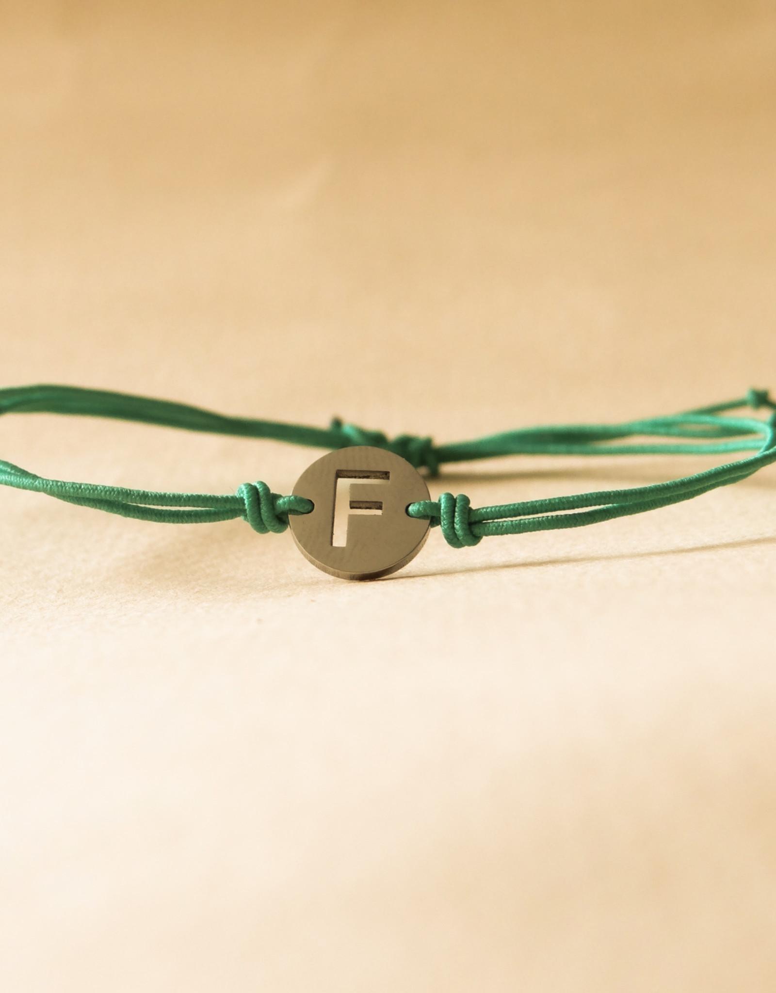 Initial armband turquoise met zilveren bedel