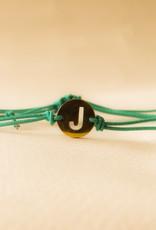 Initial armband turquoise met gouden bedel