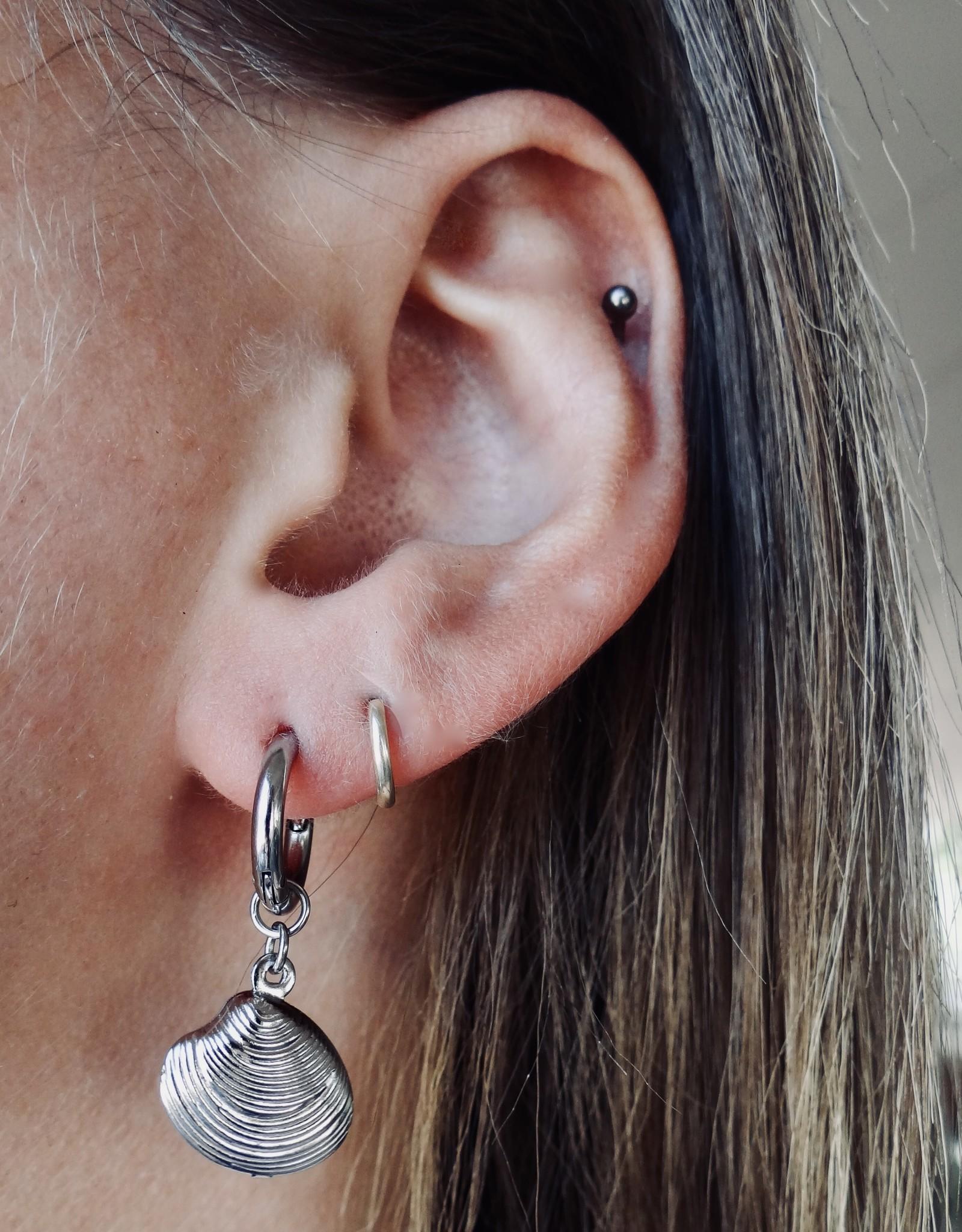 Schelpen oorbellen zilver
