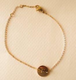 Initialen armband met bedel goud