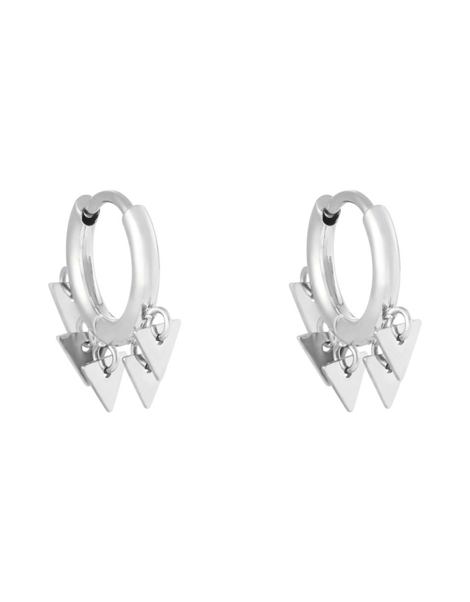 Driehoek oorbellen zilver