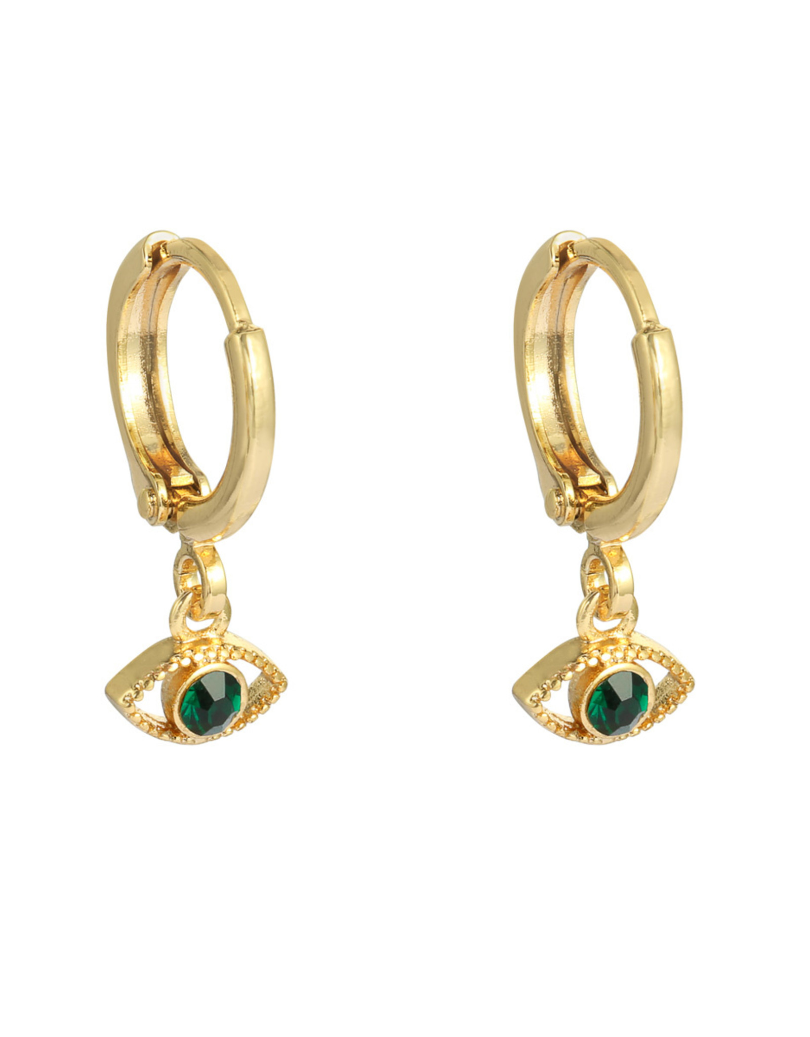 Gouden oorbellen met groen oog