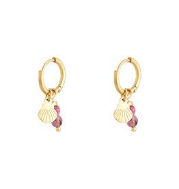 Schelpen oorbellen little shell roze