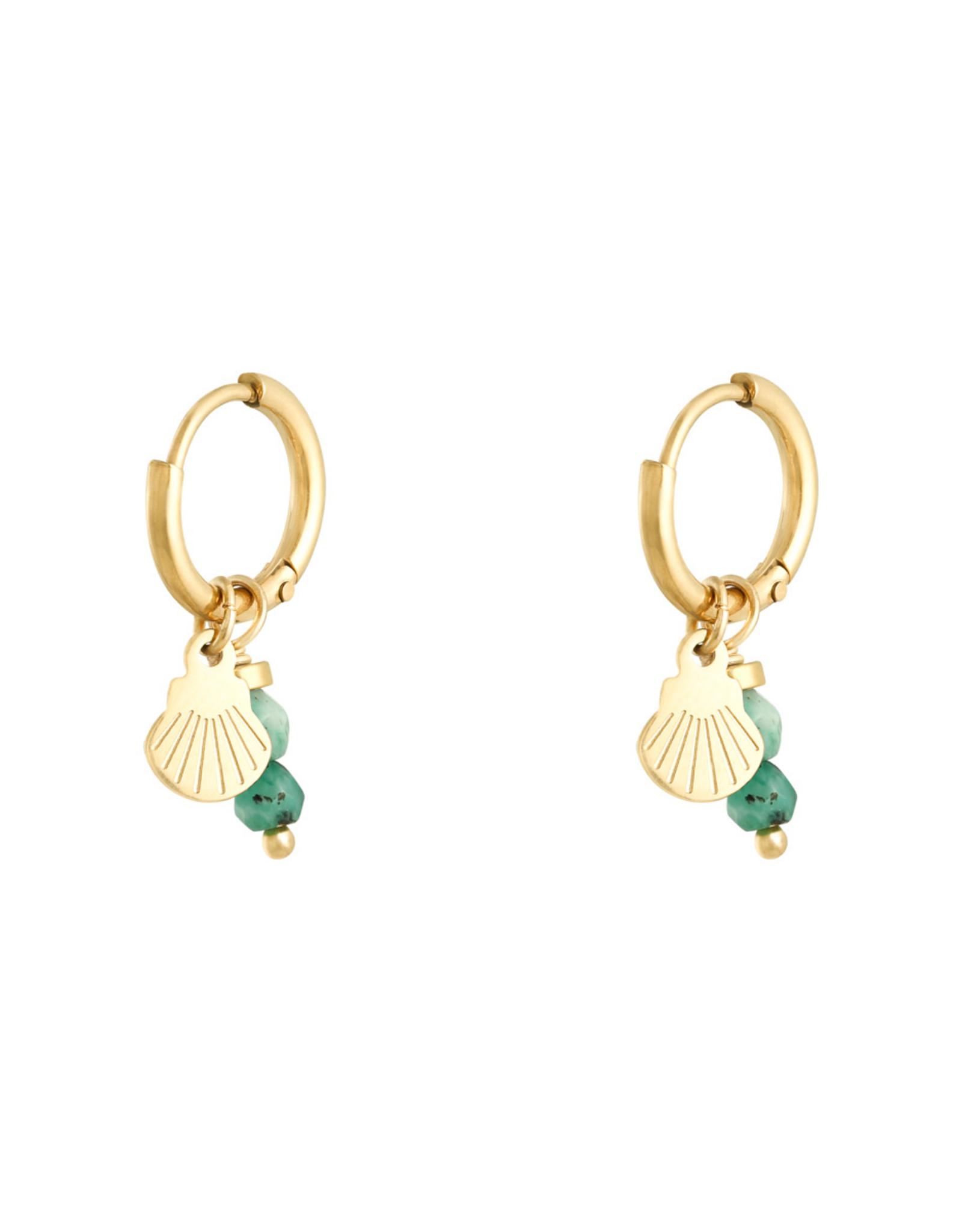 Schelpen oorbellen little shell groen