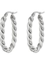 Hoops oorbellen ovaal zilver
