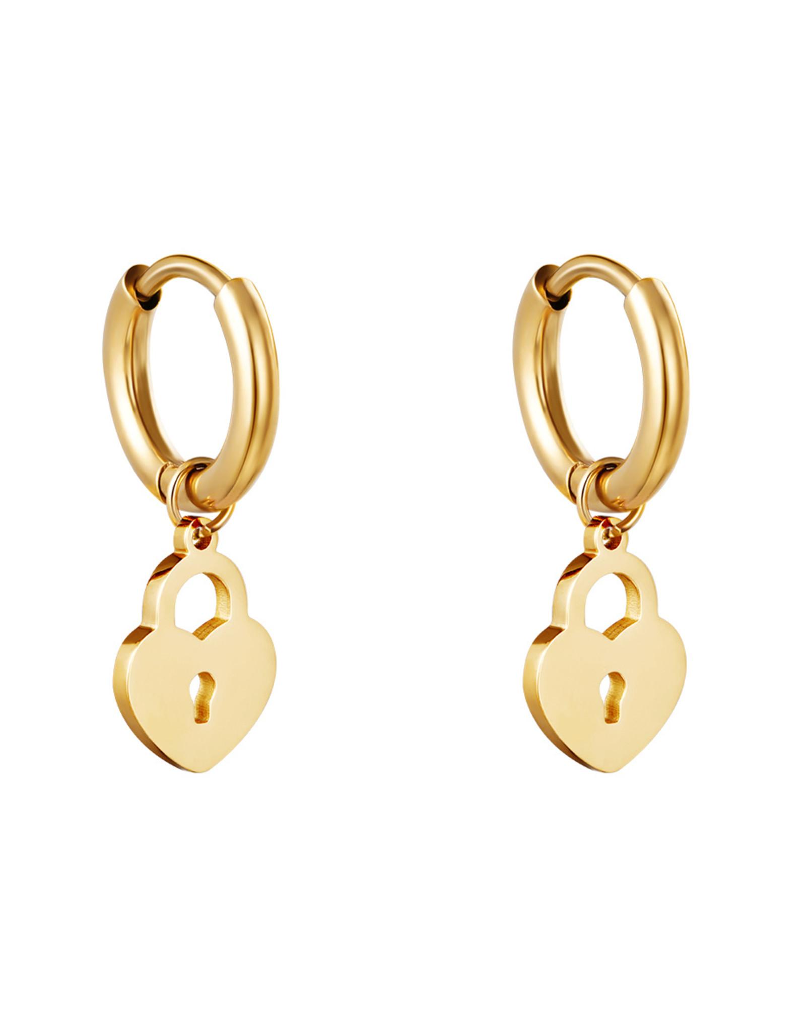 Hartjes oorbellen slotje goud