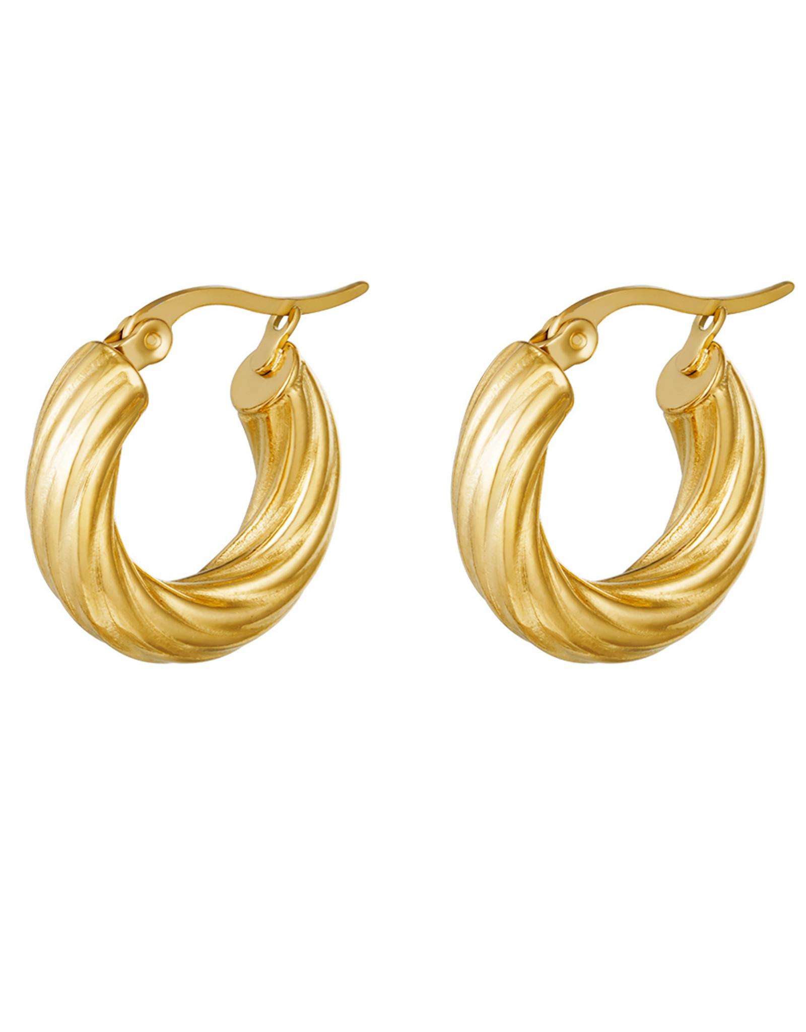 Curly hoops oorbellen goud