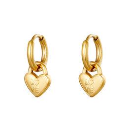 Hartjes oorbellen love goud