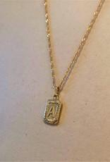 Ketting antique initial goud