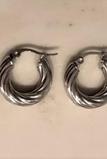 Curly hoops oorbellen zilver